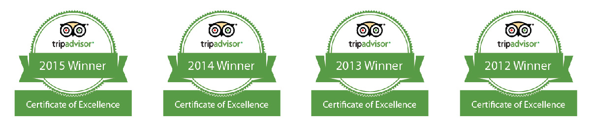 OVineyards TripAdvisor Certificate of Excellence awards 2012 - 2013-- 2014 - 2015